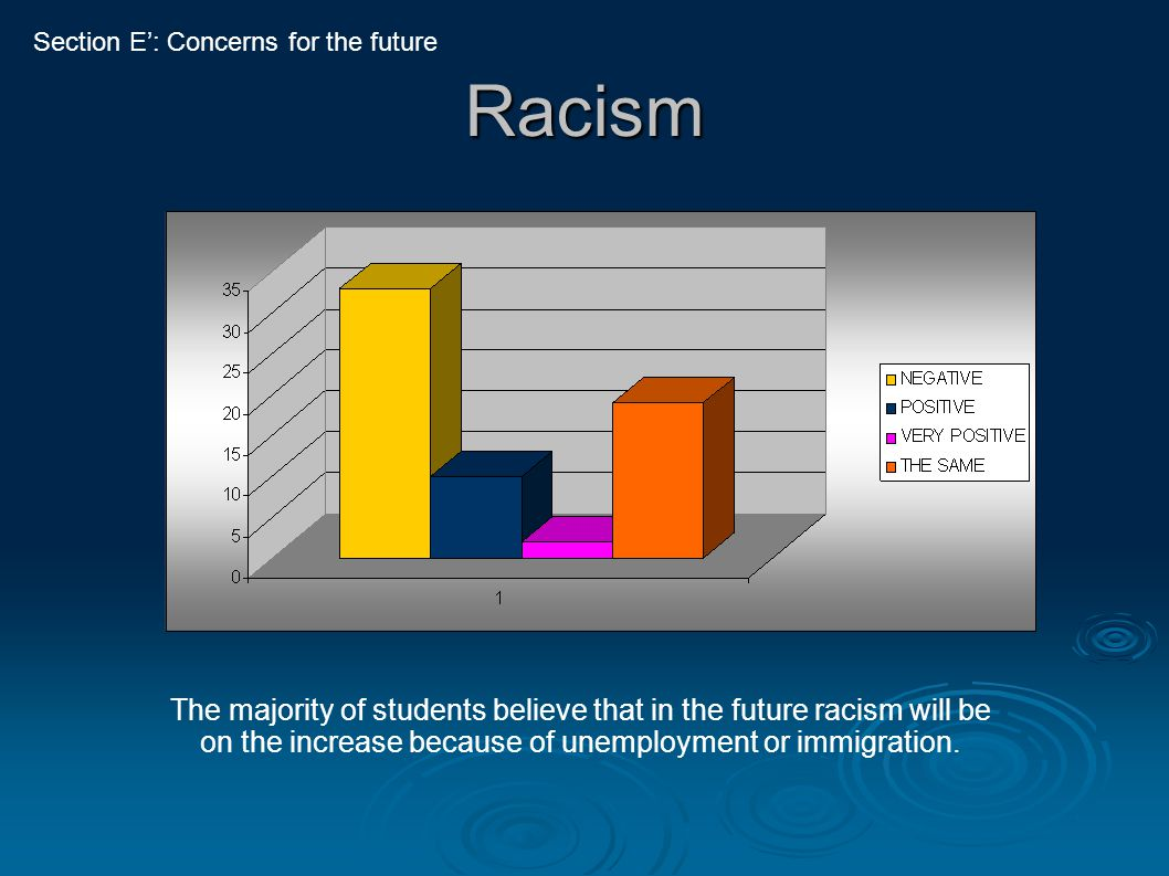 Racism The majority of students believe that in the future racism will be on the increase because of unemployment or immigration. Section E': Concerns