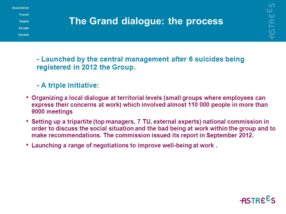 The Grand dialogue: main outcomes - A huge call and demand from employees to be recognized - The experimentation of local dialogues - A slow down process in organizational changes and the announcement of new recruitments to face the high rate of absenteeism (22%, all reasons included ) - Several recommendations like Improving the culture of change, work organization and HR processes Facilitate social dialogue at all levels Open the social model to the outside (careers in other public companies, possibilities for external promotion etc..).