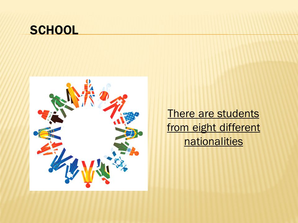 There are students from eight different nationalities SCHOOL