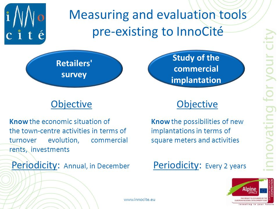 Measuring and evaluation tools pre-existing to InnoCité Study of the commercial implantation Know the possibilities of new implantations in terms of square meters and activities Know the economic situation of the town-centre activities in terms of turnover evolution, commercial rents, investments Objective Periodicity: Every 2 years Retailers survey Objective Periodicity: Annual, in December www.innocite.eu