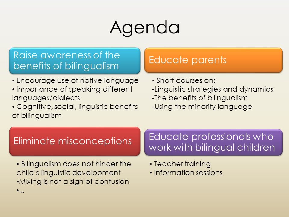 Agenda Raise awareness of the benefits of bilingualism Eliminate misconceptions Encourage use of native language Importance of speaking different languages/dialects Cognitive, social, linguistic benefits of bilingualism Educate parents Educate professionals who work with bilingual children Bilingualism does not hinder the child's linguistic development Mixing is not a sign of confusion...