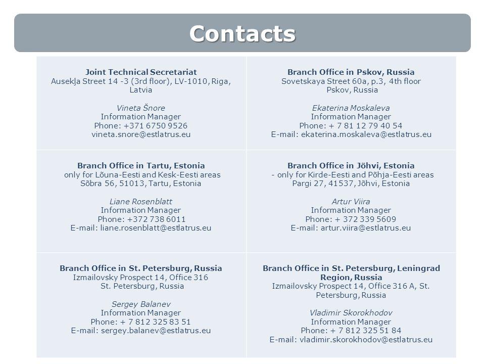 Contacts 10 Joint Technical Secretariat Ausekļa Street 14 -3 (3rd floor), LV-1010, Riga, Latvia Vineta Šnore Information Manager Phone: +371 6750 9526 vineta.snore@estlatrus.eu Branch Office in Pskov, Russia Sovetskaya Street 60a, p.3, 4th floor Pskov, Russia Ekaterina Moskaleva Information Manager Phone: + 7 81 12 79 40 54 E-mail: ekaterina.moskaleva@estlatrus.eu Branch Office in Tartu, Estonia only for Lõuna-Eesti and Kesk-Eesti areas Sõbra 56, 51013, Tartu, Estonia Liane Rosenblatt Information Manager Phone: +372 738 6011 E-mail: liane.rosenblatt@estlatrus.eu Branch Office in Jõhvi, Estonia - only for Kirde-Eesti and Põhja-Eesti areas Pargi 27, 41537, Jõhvi, Estonia Artur Viira Information Manager Phone: + 372 339 5609 E-mail: artur.viira@estlatrus.eu Branch Office in St.