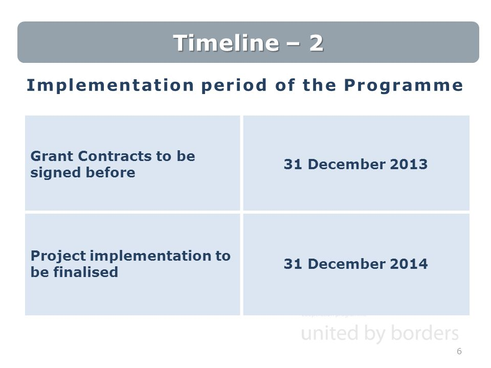Implementation period of the Programme 6 Timeline – 2 Grant Contracts to be signed before 31 December 2013 Project implementation to be finalised 31 D