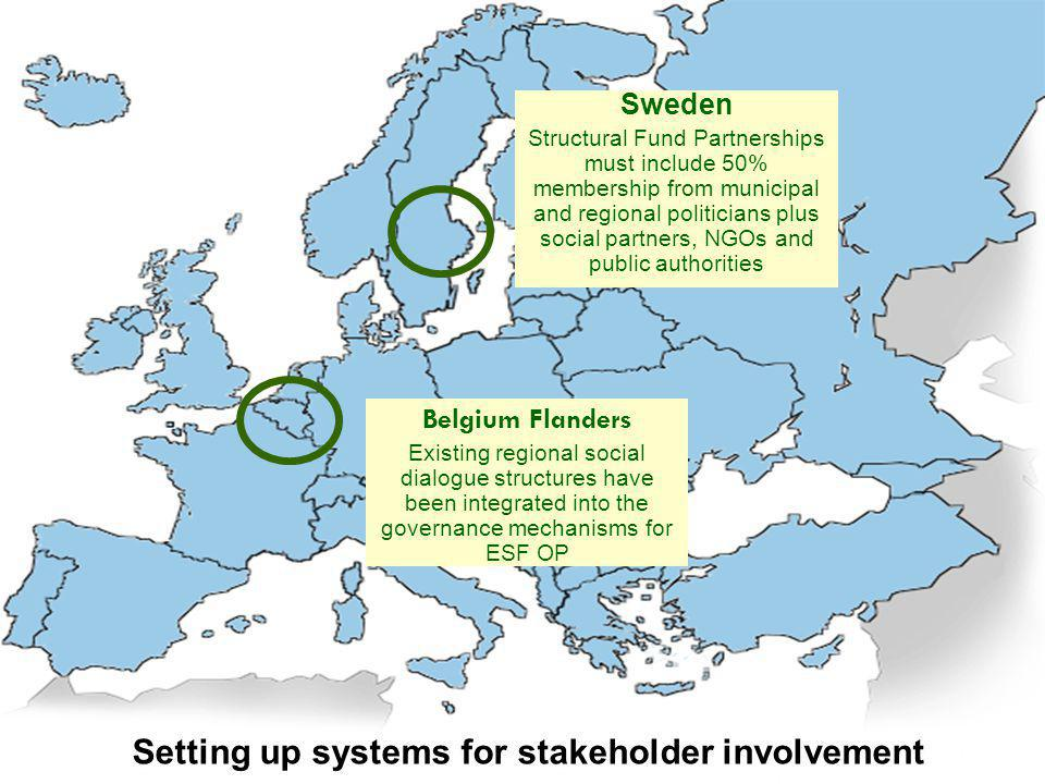 Setting up systems for stakeholder involvement Belgium Flanders Existing regional social dialogue structures have been integrated into the governance