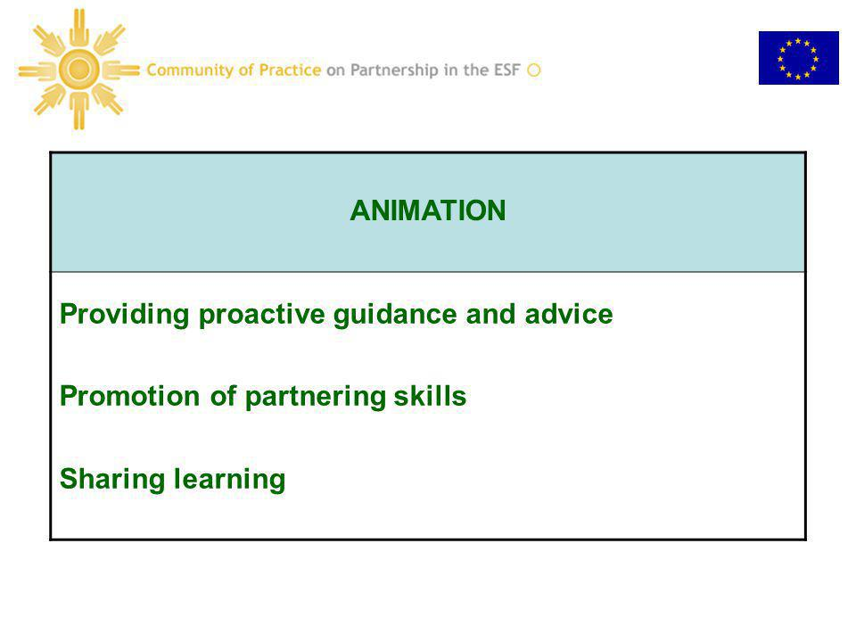ANIMATION Providing proactive guidance and advice Promotion of partnering skills Sharing learning