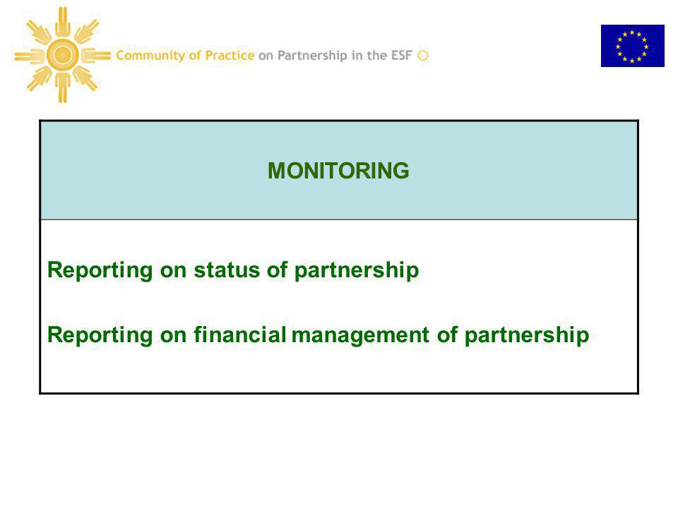 MONITORING Reporting on status of partnership Reporting on financial management of partnership