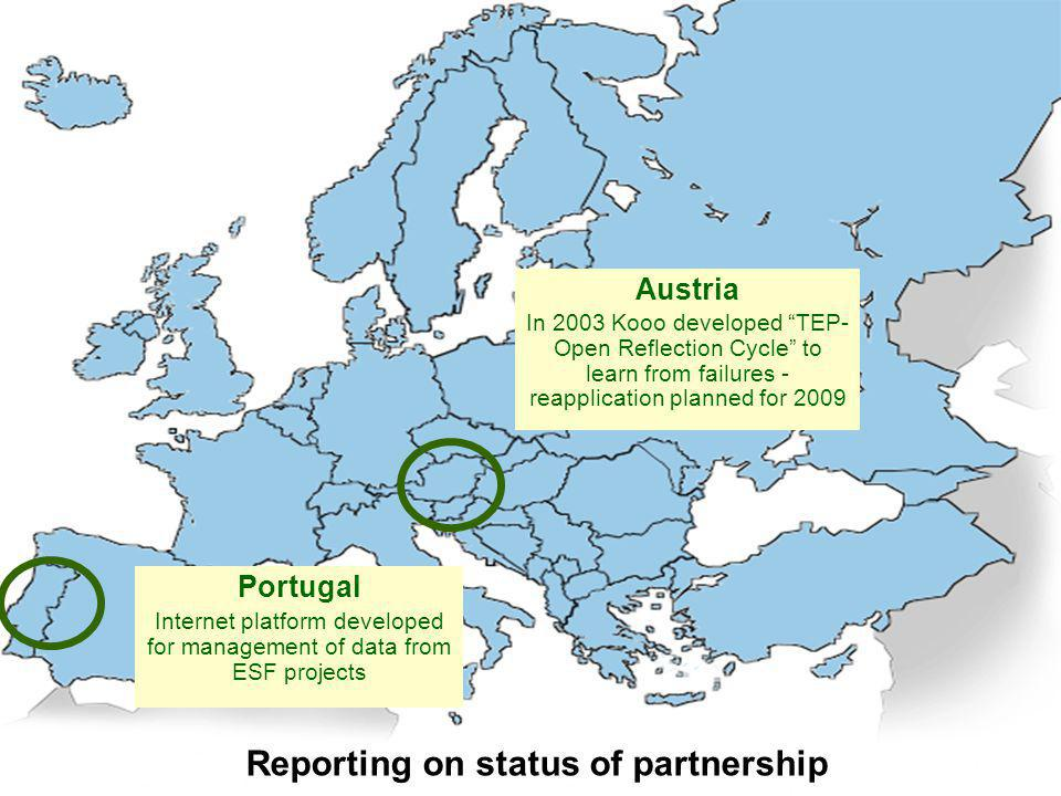 "Reporting on status of partnership Portugal Internet platform developed for management of data from ESF projects Austria In 2003 Kooo developed ""TEP-"