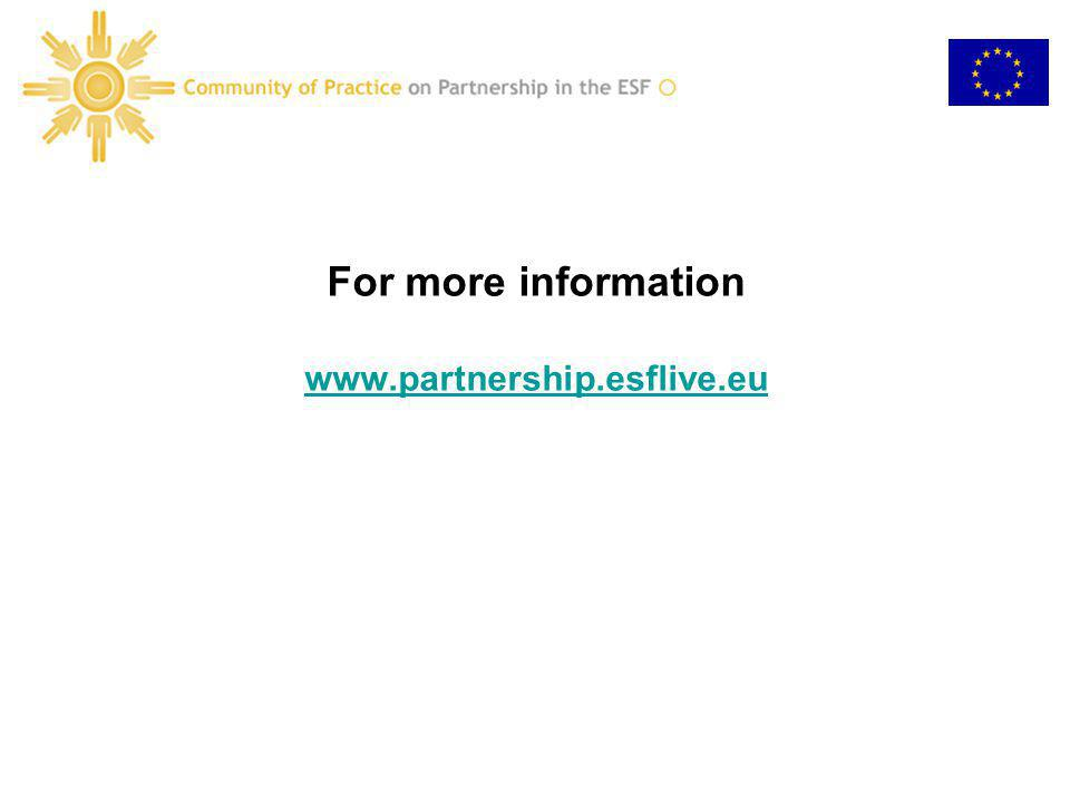 For more information www.partnership.esflive.eu www.partnership.esflive.eu
