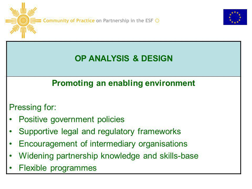 OP ANALYSIS & DESIGN Promoting an enabling environment Pressing for: Positive government policies Supportive legal and regulatory frameworks Encourage