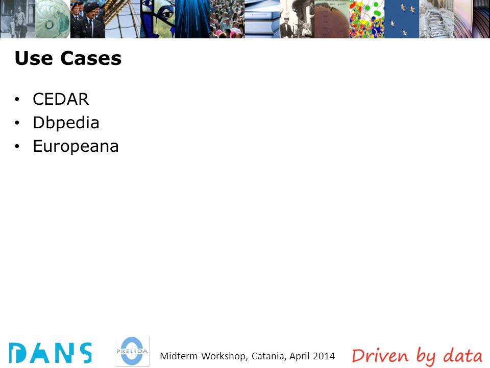 Midterm Workshop, Catania, April 2014 Use Cases CEDAR Dbpedia Europeana