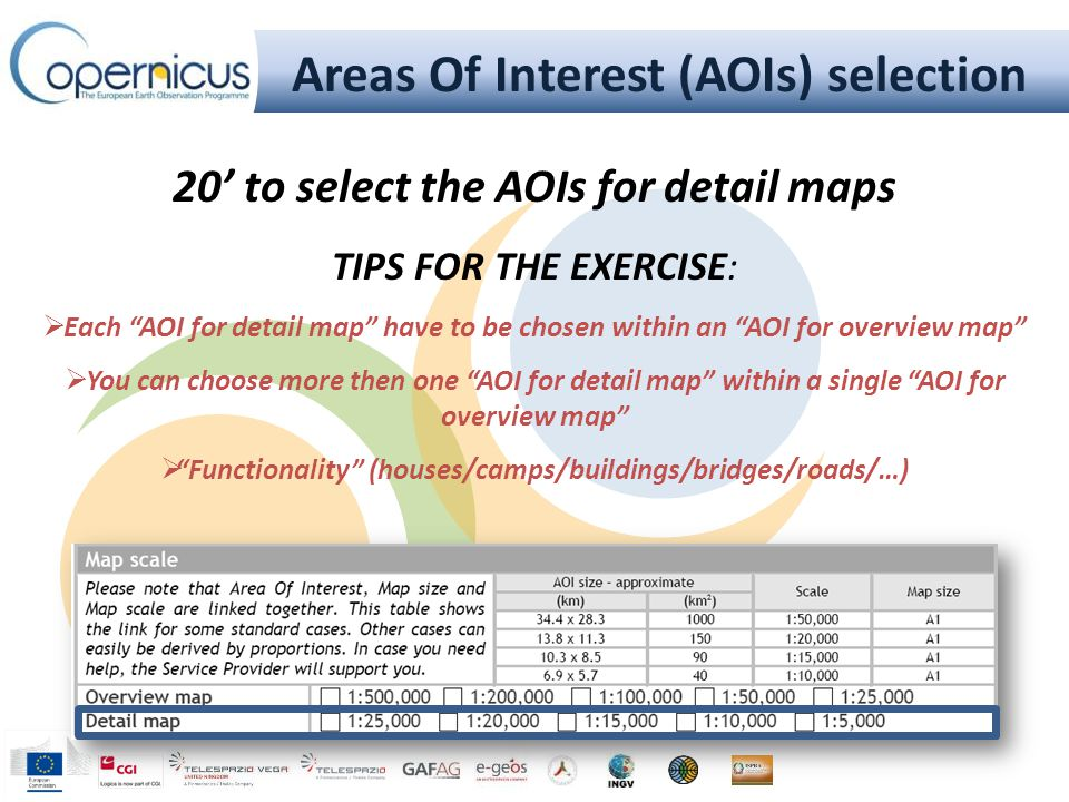 """Areas Of Interest (AOIs) selection 20' to select the AOIs for detail maps TIPS FOR THE EXERCISE:  Each """"AOI for detail map"""" have to be chosen within"""