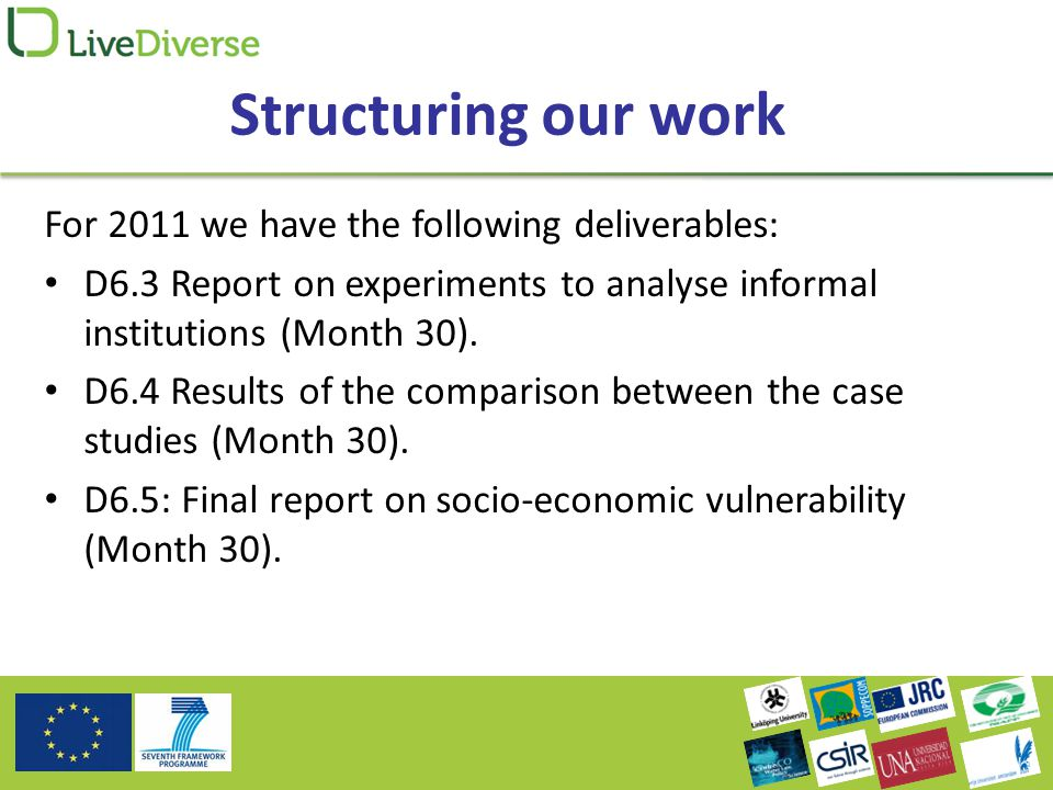 Structuring our work For 2011 we have the following deliverables: D6.3 Report on experiments to analyse informal institutions (Month 30).
