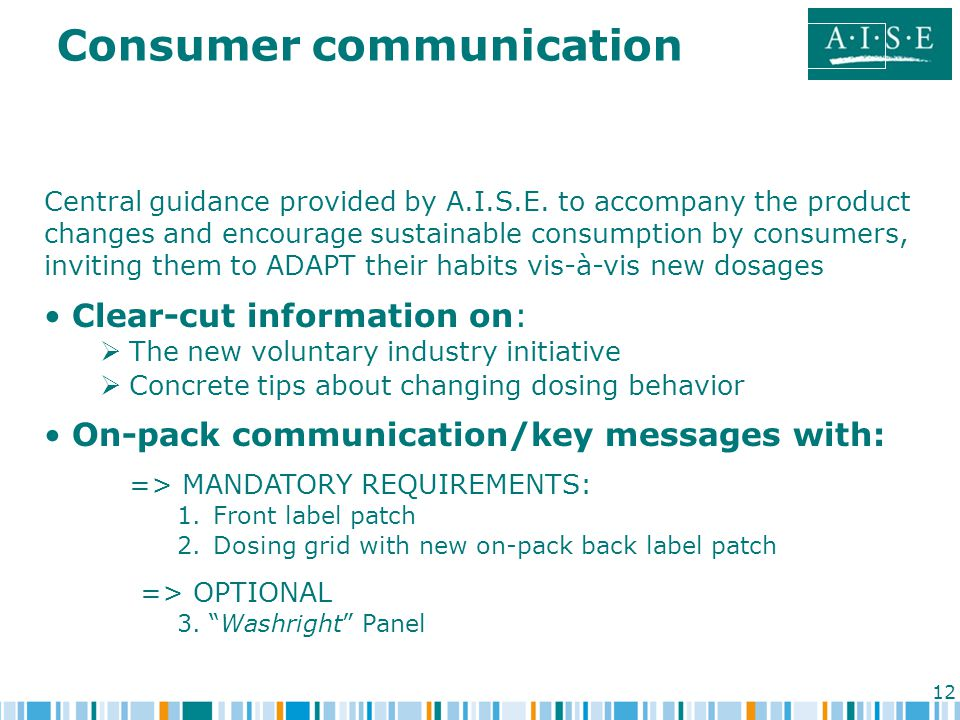 12 Consumer communication Central guidance provided by A.I.S.E.