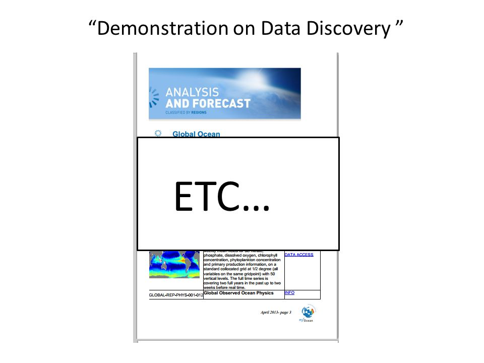 Demonstration on Data Discovery ETC…
