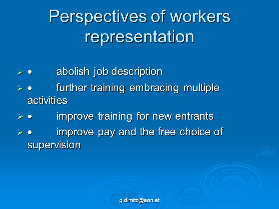 g.dimitz@aon.at Perspectives of workers representation   abolish job description   further training embracing multiple activities   improve trai