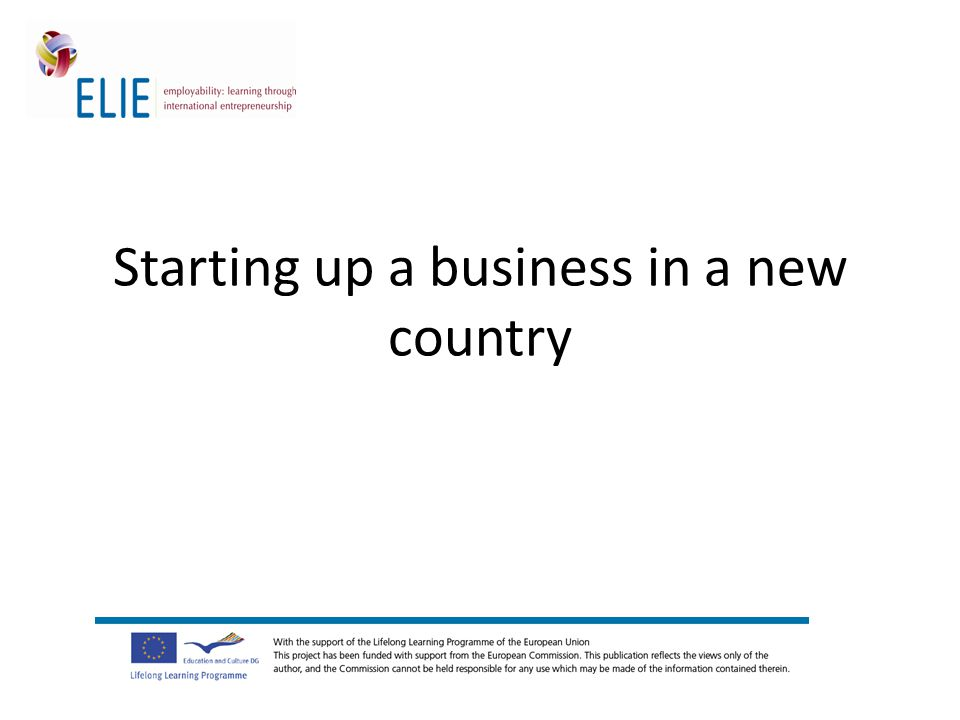 Starting up a business in a new country