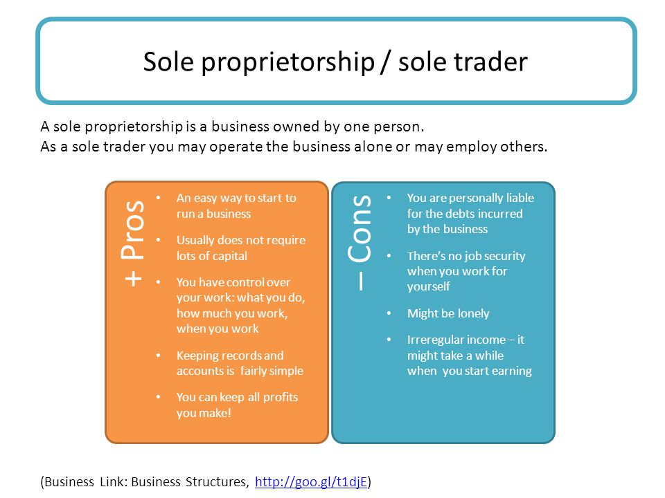 A sole proprietorship is a business owned by one person.