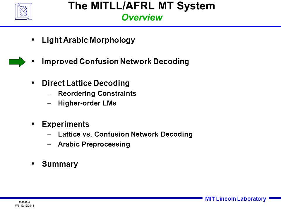 MIT Lincoln Laboratory 999999-17 WS 10/12/2014 Confusion Network vs.