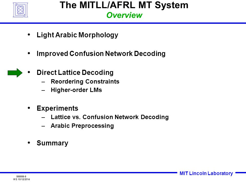 MIT Lincoln Laboratory 999999-20 WS 10/12/2014 Summary Significant improvement for Arabic with light morphology –Five Deterministic Rules Improved Confusion Network decoding with separate source LM and ASR scores Lattice-based Decoding comparable to Confusion Network decoding –Improvement for Arabic Task