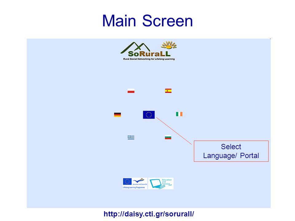 Main Screen http://daisy.cti.gr/sorurall/ Select Language/ Portal