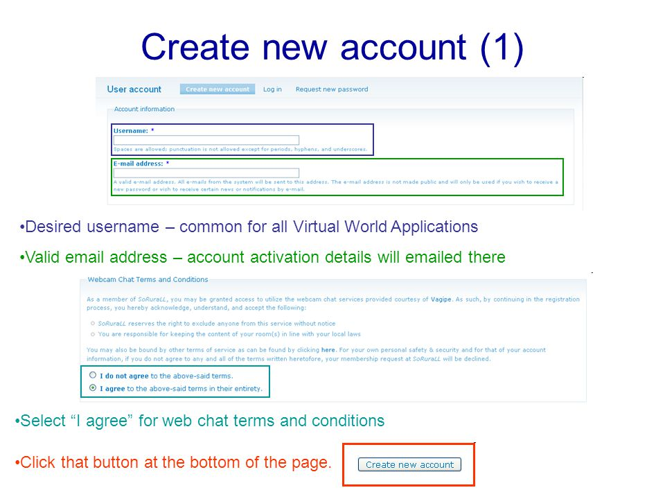 Create new account (1) Desired username – common for all Virtual World Applications Valid email address – account activation details will emailed there Select I agree for web chat terms and conditions Click that button at the bottom of the page.