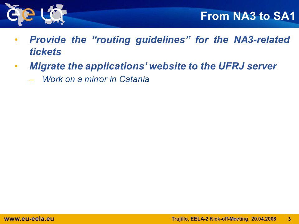 www.eu-eela.eu Trujillo, EELA-2 Kick-off-Meeting, 20.04.2008 4 How to monitor the usage of the infrastructure per application.
