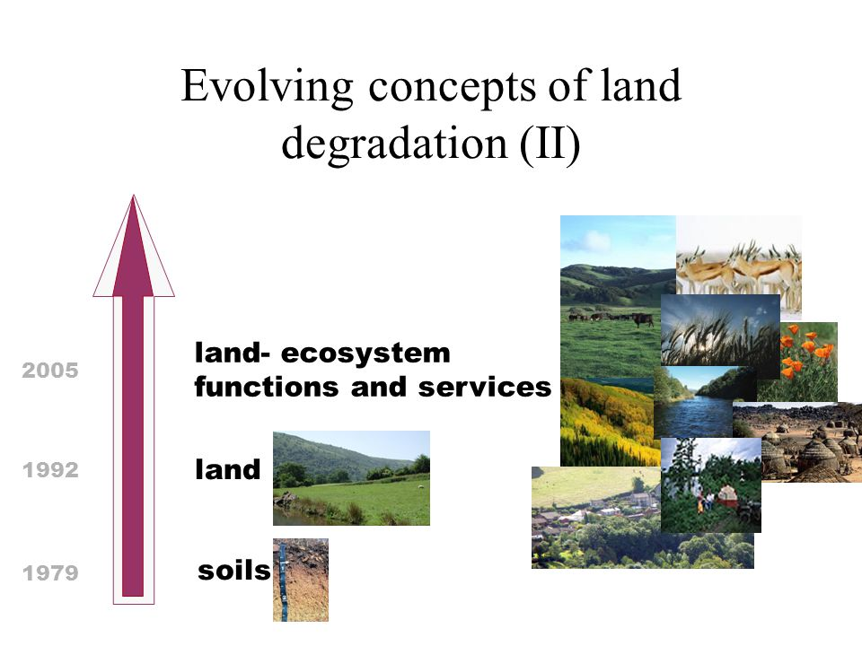 Evolving concepts of land degradation (II) land 1992 land- ecosystem functions and services 2005 soils 1979