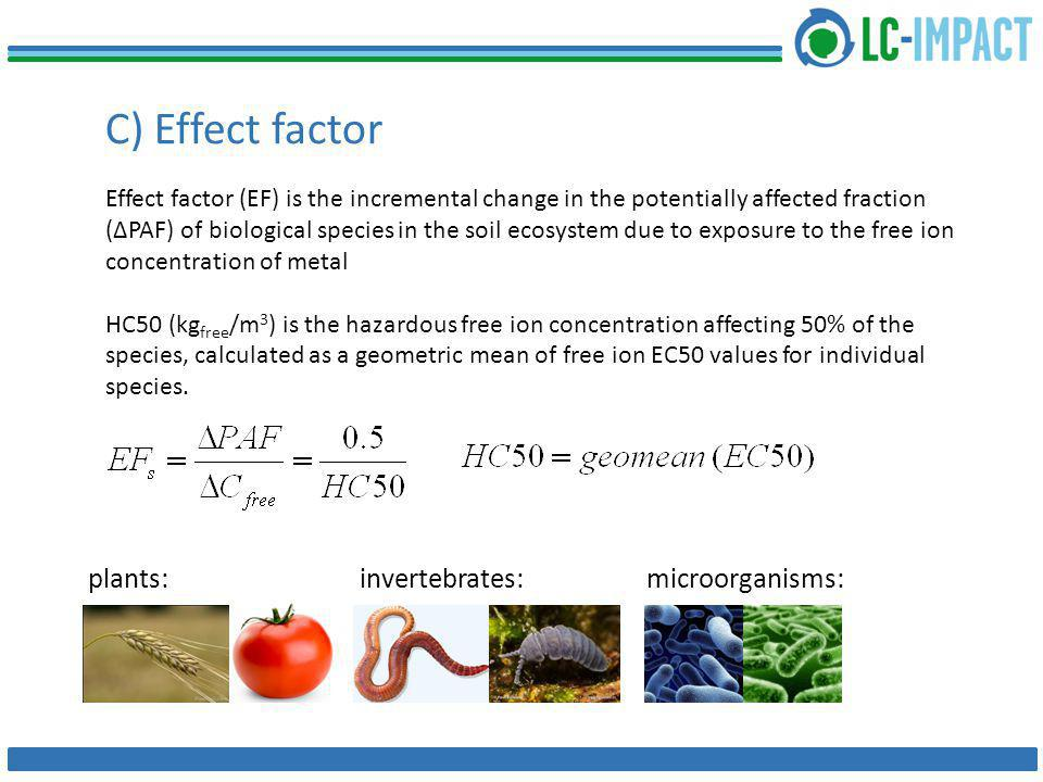 C) Effect factor Effect factor (EF) is the incremental change in the potentially affected fraction (ΔPAF) of biological species in the soil ecosystem due to exposure to the free ion concentration of metal HC50 (kg free /m 3 ) is the hazardous free ion concentration affecting 50% of the species, calculated as a geometric mean of free ion EC50 values for individual species.