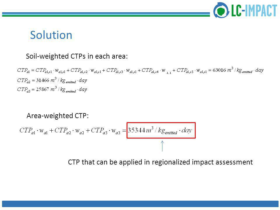 Solution Soil-weighted CTPs in each area: Area-weighted CTP: CTP that can be applied in regionalized impact assessment