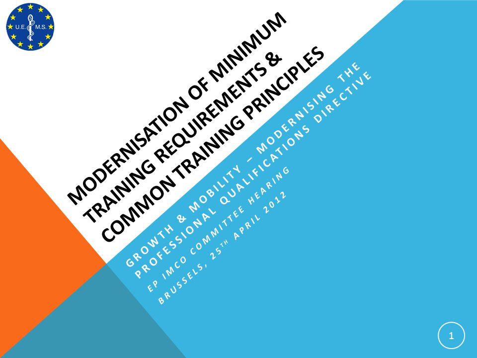 MODERNISATION OF MINIMUM TRAINING REQUIREMENTS & COMMON TRAINING PRINCIPLES 1 GROWTH & MOBILITY – MODERNISING THE PROFESSIONAL QUALIFICATIONS DIRECTIV