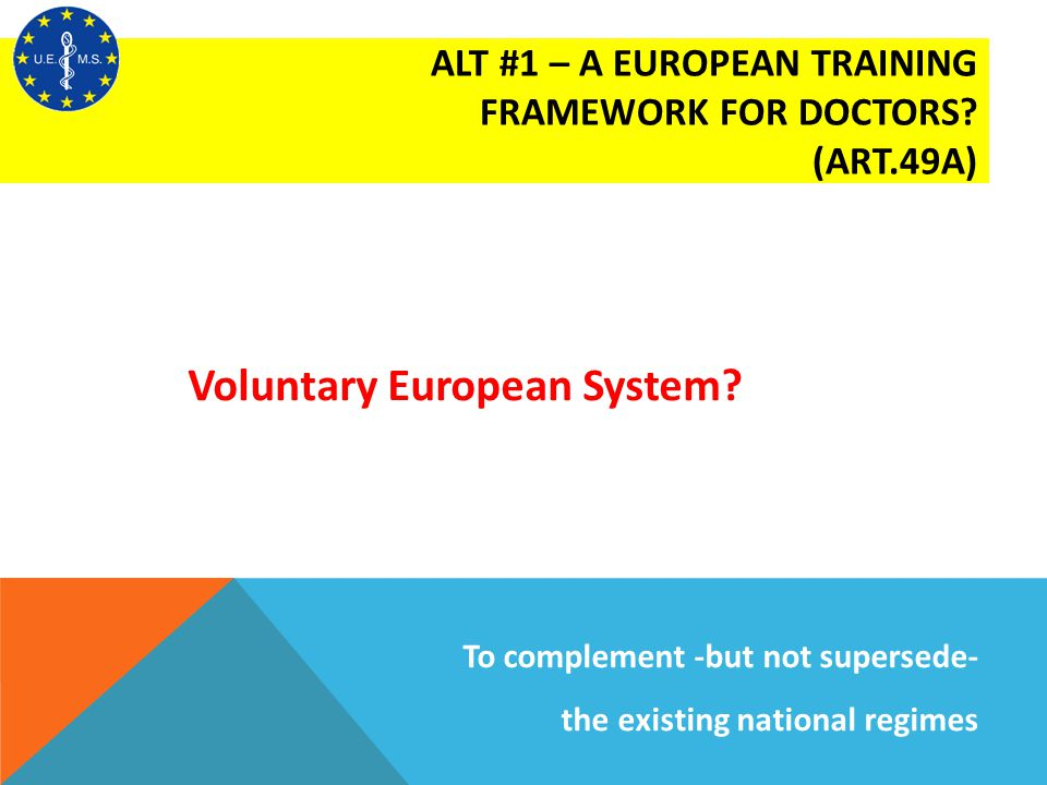 Voluntary European System? ALT #1 – A EUROPEAN TRAINING FRAMEWORK FOR DOCTORS? (ART.49A) To complement -but not supersede- the existing national regim
