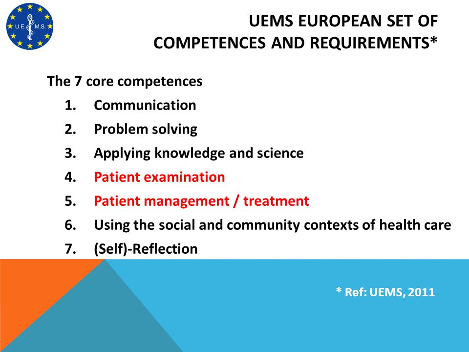 UEMS EUROPEAN SET OF COMPETENCES AND REQUIREMENTS* The 7 core competences 1. Communication 2. Problem solving 3. Applying knowledge and science 4. Pat