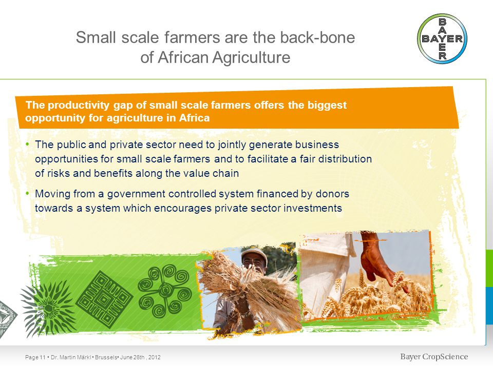 Small scale farmers are the back-bone of African Agriculture The public and private sector need to jointly generate business opportunities for small scale farmers and to facilitate a fair distribution of risks and benefits along the value chain Moving from a government controlled system financed by donors towards a system which encourages private sector investments The productivity gap of small scale farmers offers the biggest opportunity for agriculture in Africa Page 11 Dr.