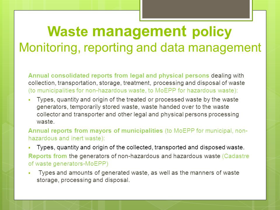 Waste recycling-status Waste processing