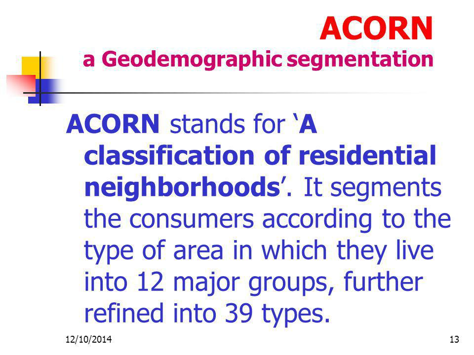 12/10/201413 ACORN a Geodemographic segmentation ACORN stands for 'A classification of residential neighborhoods'.
