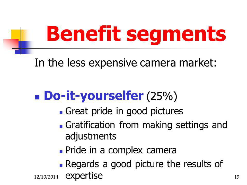 12/10/201419 Benefit segments In the less expensive camera market: Do-it-yourselfer (25%) Great pride in good pictures Gratification from making settings and adjustments Pride in a complex camera Regards a good picture the results of expertise