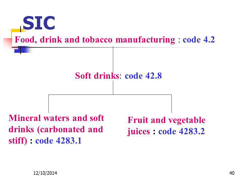 12/10/201440 SIC Food, drink and tobacco manufacturing : code 4.2 Soft drinks: code 42.8 Mineral waters and soft drinks (carbonated and stiff) : code 4283.1 Fruit and vegetable juices : code 4283.2