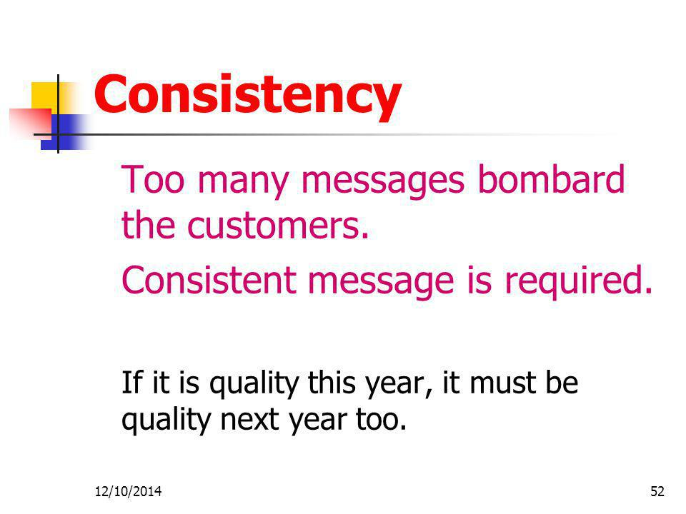 12/10/201452 Consistency Too many messages bombard the customers.