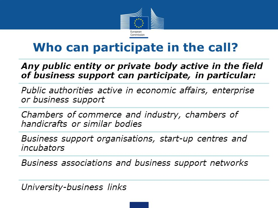 Any public entity or private body active in the field of business support can participate, in particular: Public authorities active in economic affairs, enterprise or business support Chambers of commerce and industry, chambers of handicrafts or similar bodies Business support organisations, start-up centres and incubators Business associations and business support networks University-business links Who can participate in the call