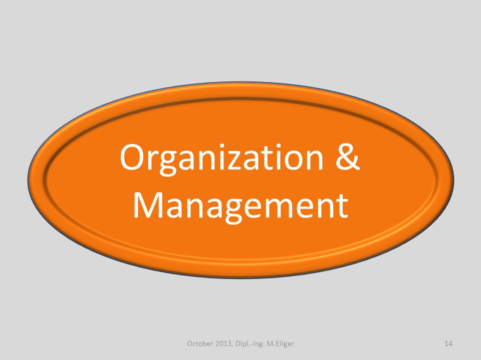 Organization & Management 14October 2013, Dipl.-Ing. M.Ellger