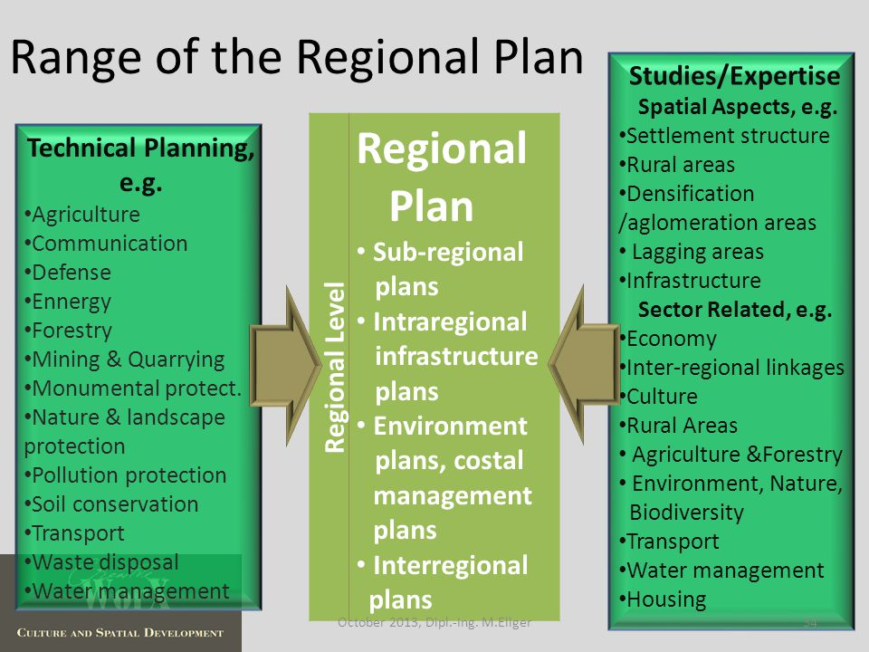 Range of the Regional Plan Regional Level Regional Plan Sub-regional plans Intraregional infrastructure plans Environment plans, costal management plans Interregional plans Technical Planning, e.g.