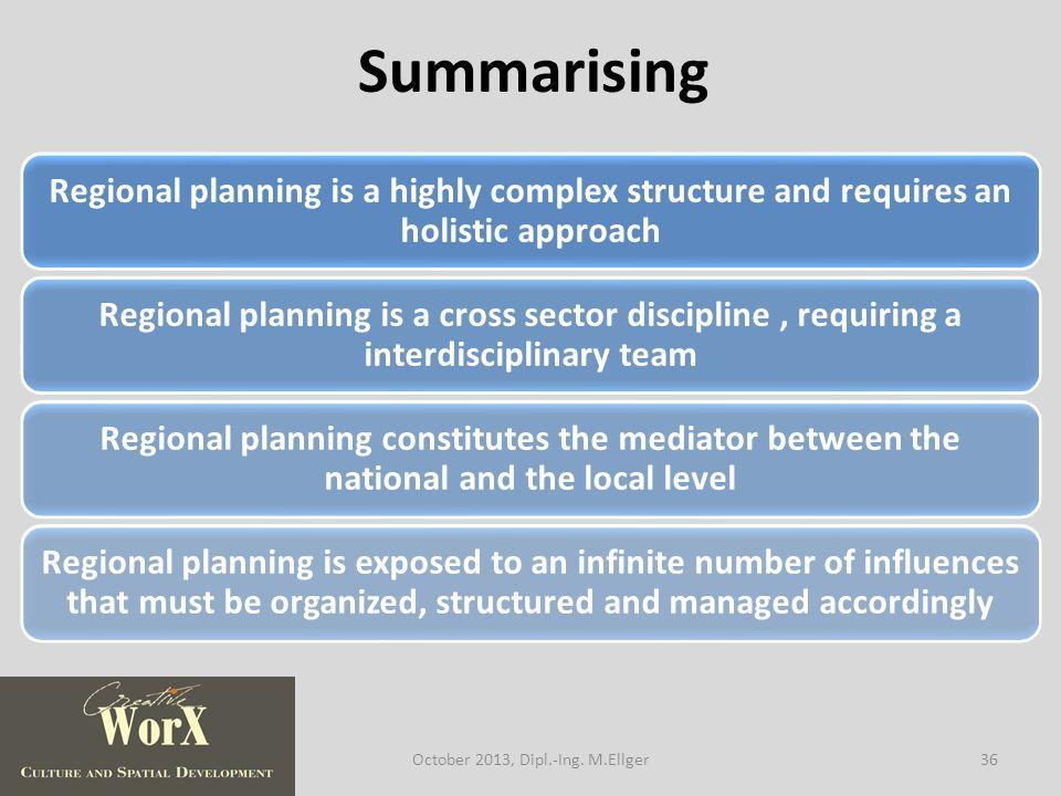 Summarising 36October 2013, Dipl.-Ing. M.Ellger
