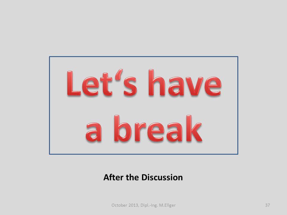 After the Discussion 37October 2013, Dipl.-Ing. M.Ellger
