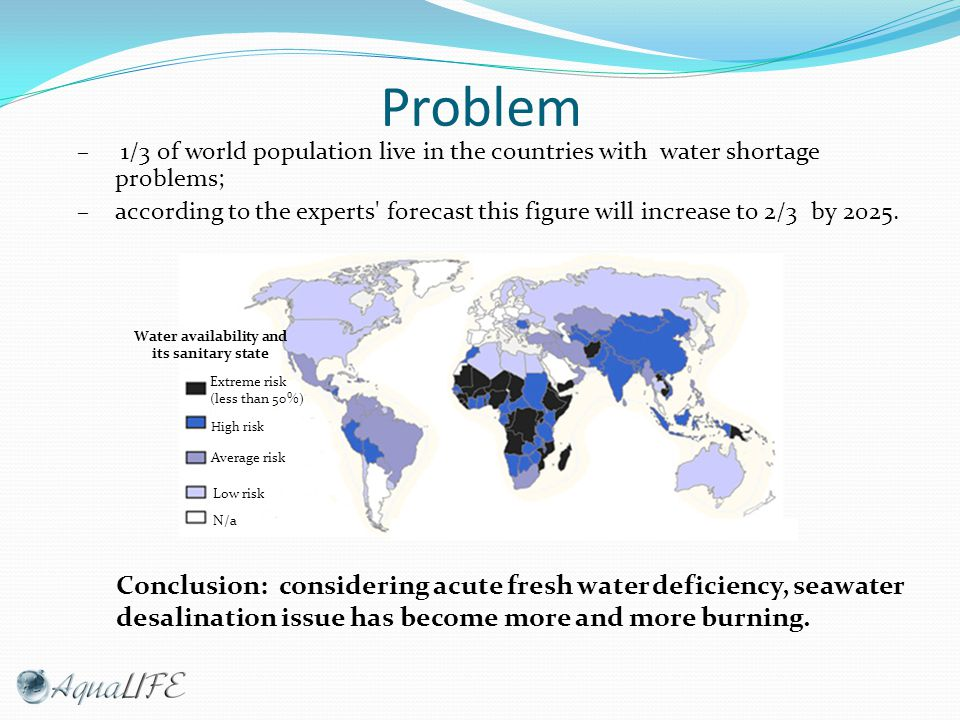Problem – 1/3 of world population live in the countries with water shortage problems; – according to the experts forecast this figure will increase to 2/3 by 2025.