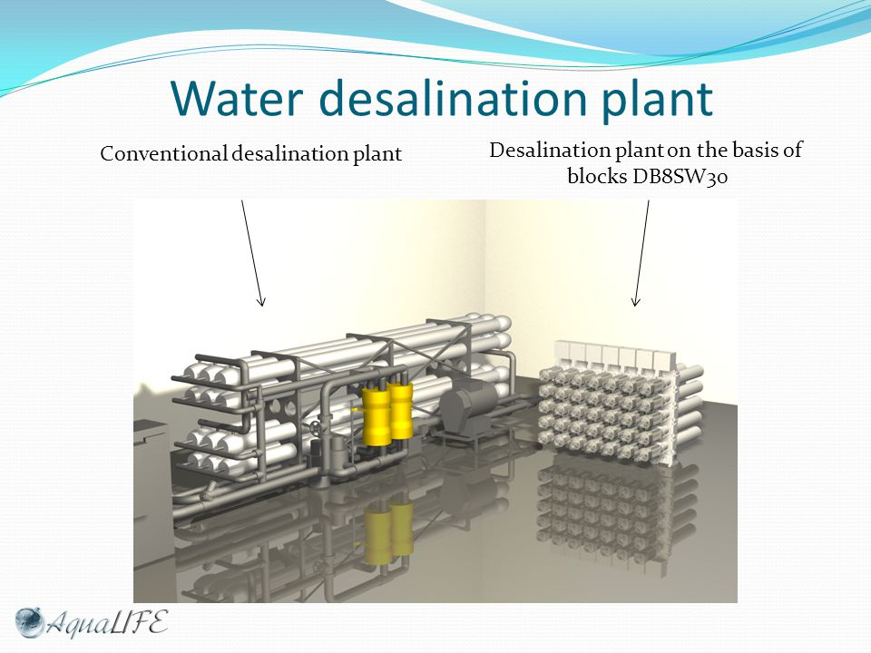 Water desalination plant Conventional desalination plant Desalination plant on the basis of blocks DB8SW30