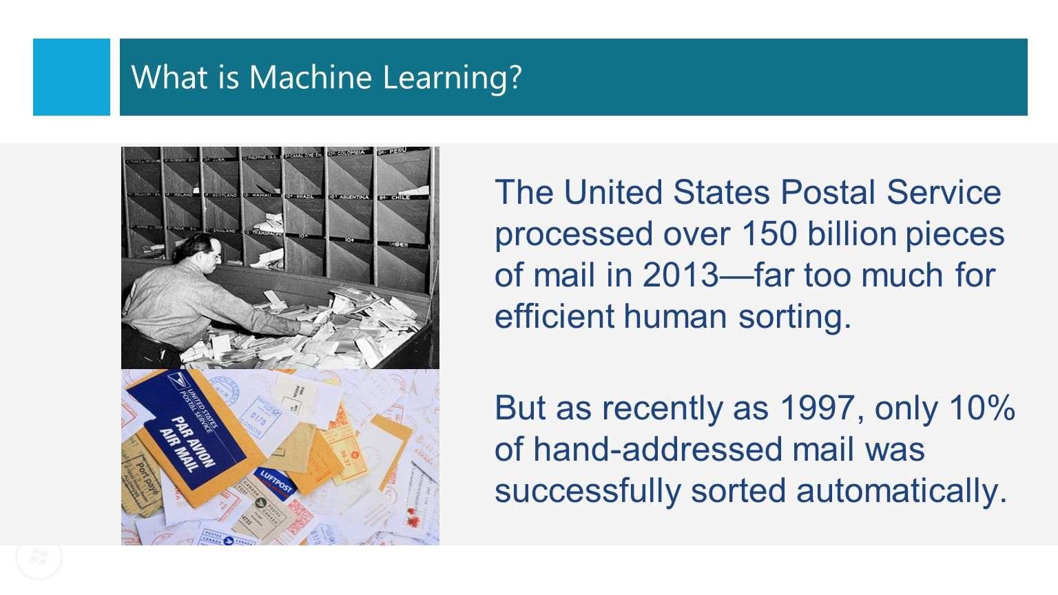 The United States Postal Service processed over 150 billion pieces of mail in 2013—far too much for efficient human sorting. But as recently as 1997,