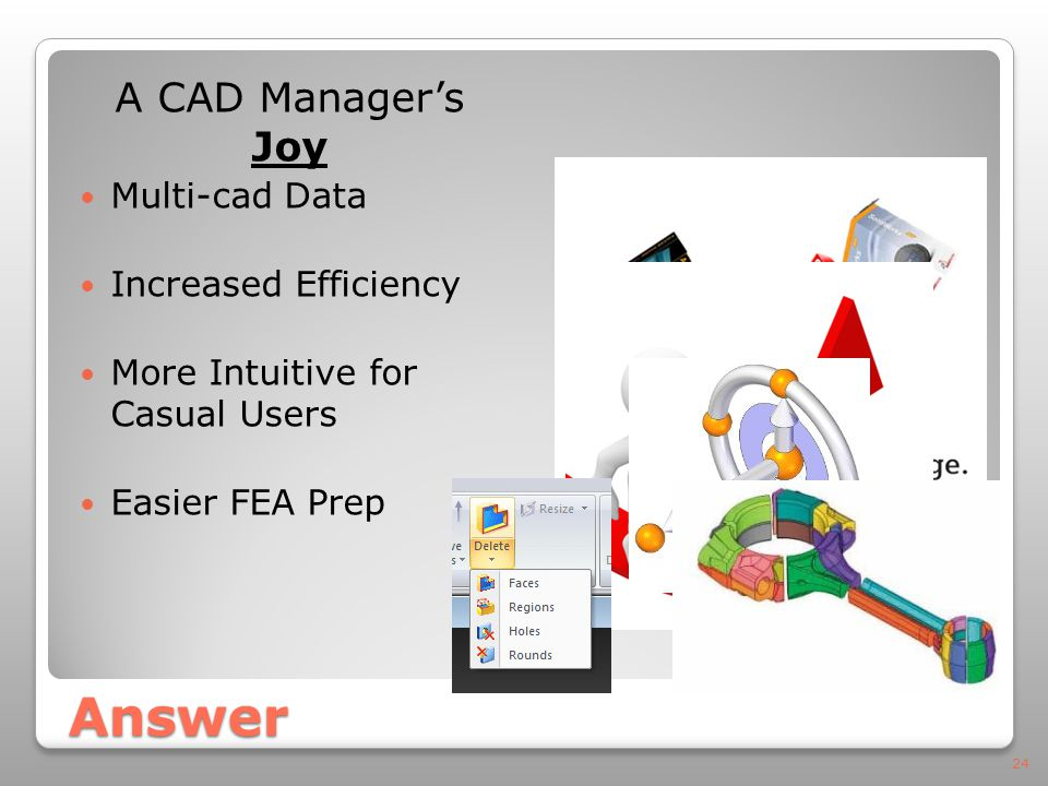 Answer A CAD Manager's Joy Multi-cad Data Increased Efficiency More Intuitive for Casual Users Easier FEA Prep 24