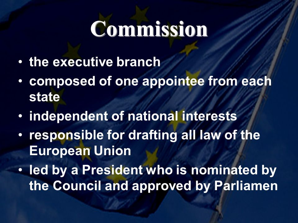 Commission the executive branch composed of one appointee from each state independent of national interests responsible for drafting all law of the Eu