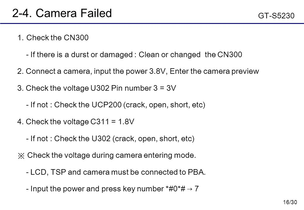16/30 2-4. Camera Failed  Check the CN300 - If there is a durst or damaged : Clean or changed the CN300 2. Connect a camera, input the power 3.8V, E