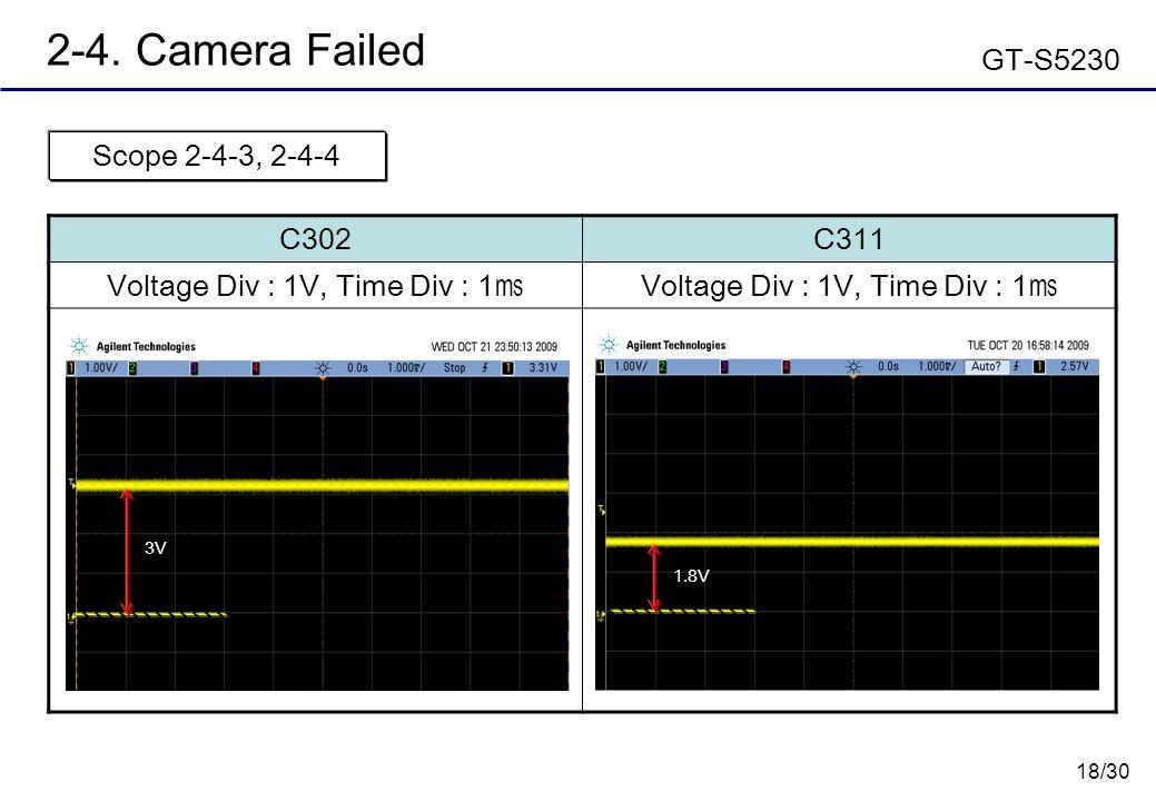 18/30 2-4. Camera Failed GT-S5230 C302C311 Voltage Div : 1V, Time Div : 1 ㎳ Scope 2-4-3, 2-4-4 1.8V 3V